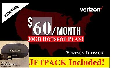 Verizon HOTSPOT Unlimited 30GB 4G LTE DATA Plan 60 PLAN with Jetpack Hotspot