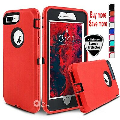 For iPhone 6 6s 7 8 Plus Shockproof Defender Hard Case Cover - Screen Protector
