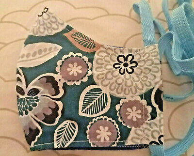 Cotton Face Mask Teal with Flowers with Nose Clip and Filter Pocket
