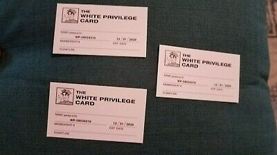 3 White Privilege Joke Membership Cards
