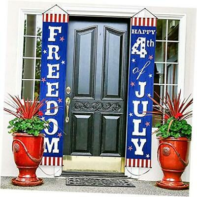 4th Fourth of July Decoration Patriotic Porch Sign Welcome Sign Decoration Set