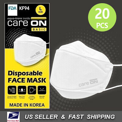 CARE-ON Disposable Face Mask KF94 Protective Mask Made in Korea 20 PCS