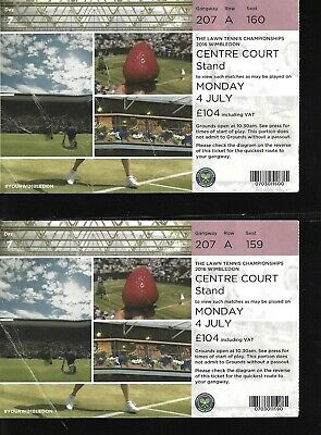 2016 WIMBLEDON PAIR OF TICKETS DAY 7 CENTRE COURT LAWN TENNIS CHAMPS MON JULY 4