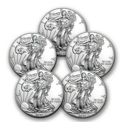 2020 1 oz American Silver Eagle BU - Lot of 5 Coins 1 US Mint Silver
