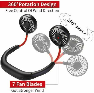 Mini Lazy Hanging Neck Fan Portable USB Rechargeable Neckband Dual Cooling Style