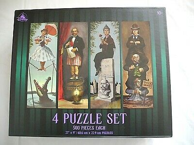 Disney Parks The Haunted Mansion 4 Puzzle Set Stretching Room Portraits IN Hand