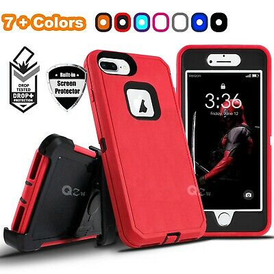 For iPhone 6 6s 7 8 Plus Defender Case Cover with Belt Clip - Screen Protector