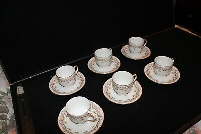 Vintage Wm Guerin - Limoge France - 6 Small Teacups and 6- Pink Rose Pattern