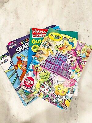 Lot of 4 Kids Books Coloring Book Color Shader Outdoor Puzzles New