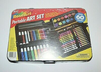 RoseArt Kids Portable Art Set -  60- Pieces With Storage Case - New Unopened