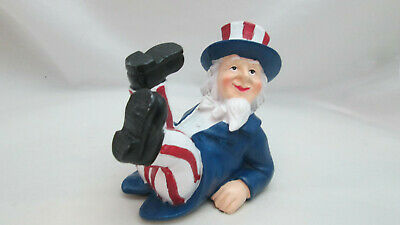 Patriotic  Fourth of July Table Top Resin Uncle Sam Leaning Back Sitting