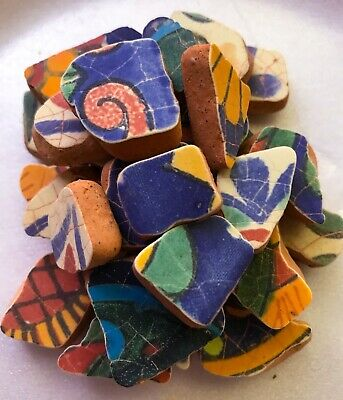Surf-tumbled  Sea Pottery Sea Tiles - Shades Of Blue Yellow Greens From Mexico