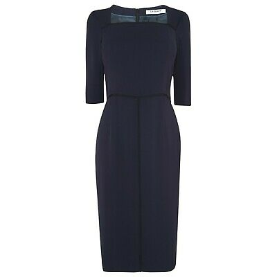 L-K- BENNETT Size 4 Blue Dr- Dali Fitted Kate Middleton Dress Piping English