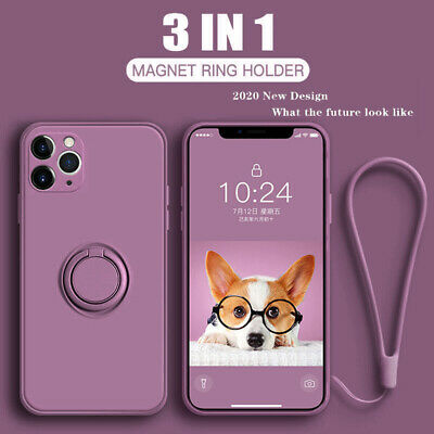 For iPhone 11 Pro Max XR XS X 8 7 SE 2020 Square Liquid Silicone Case Ring Cover