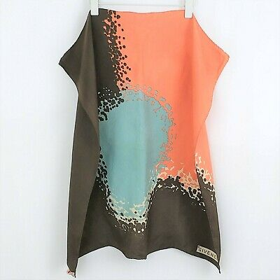 Vintage GIVENCHY 100 Silk Coral Blue Brown Scarf 27 x 26 Authentic