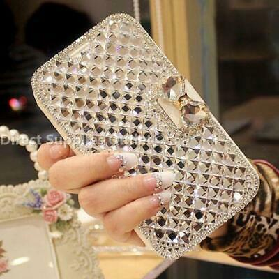 Bling Glitter Diamond Rhinestone Bow Wallet Leather Case Cover For iPhone Phones