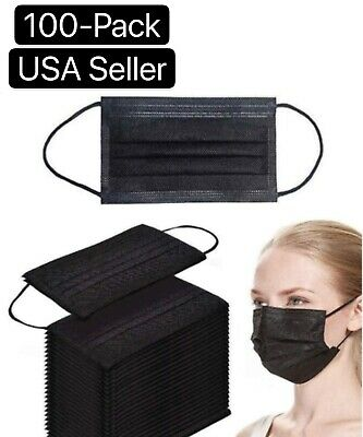 50100 PCS Black Face Mask Mouth - Nose Protector Respirator Masks USA Seller