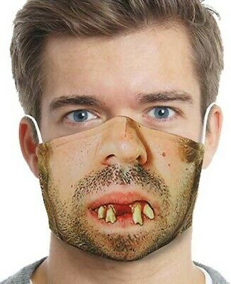 Hillbilly Missing Crooked Teeth Face Mask Halloween Gruesome Scary Funny Face