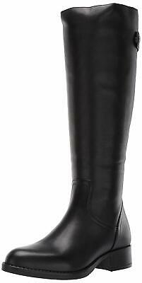 Steve Madden Womens journal Leather Almond Toe Knee Black Leather Size 7-0 QJw