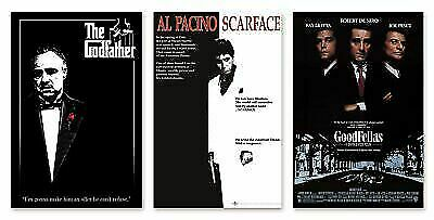 CLASSIC GANGSTER MOVIES - POSTER SET SCARFACE GOODFELLAS - THE GODFATHER