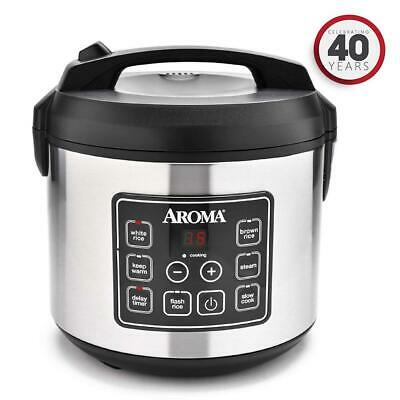 Aroma Rice Cooker and Food Steamer 20-Cup Cooked Digital  ARC-150SB