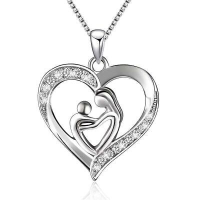 New Mothers Day Gift Mom Child Heart Pendant Chain Family Love Necklace Jewelry