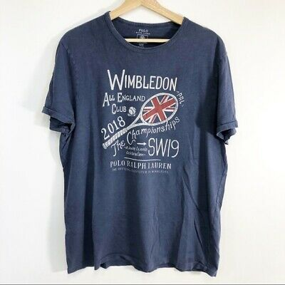 Polo Ralph Lauren Wimbledon Blue Soft T-Shirt Mens XL Vintage Wash Casual