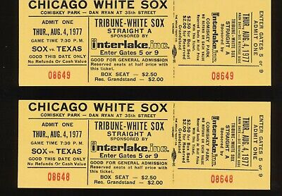 2 Unused Full Tickets Chicago White Sox Rangers August 4 1977