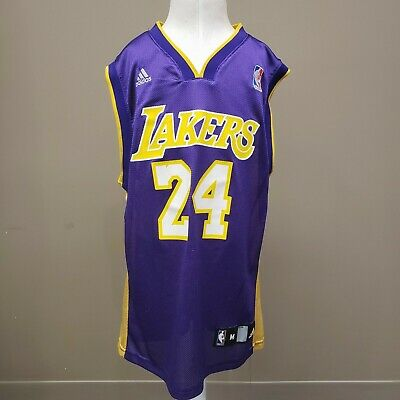 Kobe Bryant 24 LA Lakers Jersey NBA Adidas Basketball Purple Youth 10-12 Med