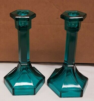Vintage Pair of Electric Aqua Blue Glass 7 Candle Stick Holders