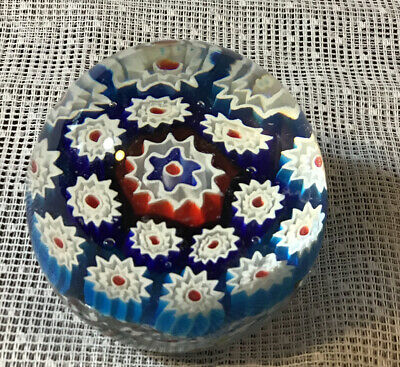 LARGE MILLEFIORI PAPERWEIGHT APPROX- 3-5 W X 3 H STARBURSTS Flowers