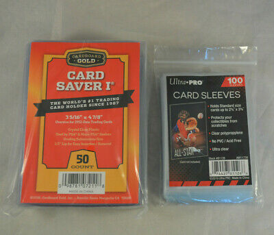 New  50  Ct Card Saver 1 Cardboard Gold  100 Ultra Pro Sleeves PSA  BGS
