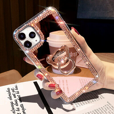 For iPhone 12 Pro Max 11 XS XR 6 7 8 Glitter Bling  Mirror Diamond Case w Ring