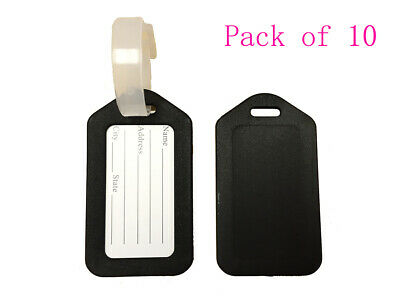 Pack of 10 Travel Luggage Bag Tag Plastic Suitcase Baggage Office Label Black