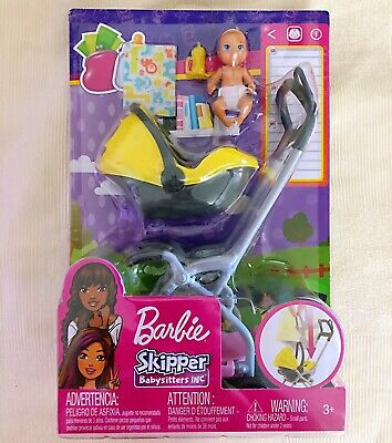 BARBIE SKIPPER BABYSITTERS INC BABY WITH CARRIER  STROLLER 100 BRAND NEW Box