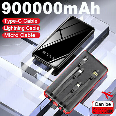900000mAh High Capacity Power Bank External Battery Pack Portable Fast Charger