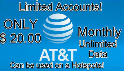At-t Unlimited Data  Lte Data Account Monthly You Own it 20