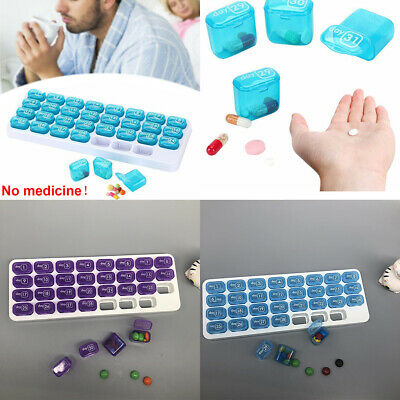 US 31 Day Monthly Pill Organizer Medication Pod Compartment Planner Box Plastic