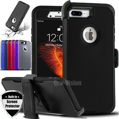 For iPhone 6 7 8 Plus Shockproof Rugged Case With Belt Clip - Screen Protector