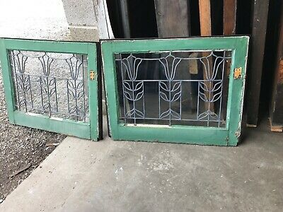 MK6 2 available price each antique leaded glass Tulip Window 19 x 24-5