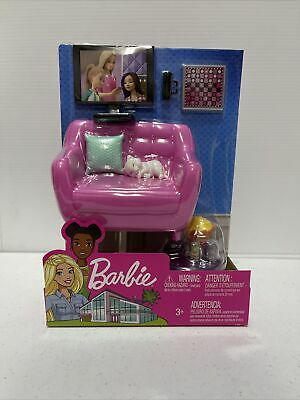 Barbie Indoor Furniture Set LIVING ROOM - KITTEN Accessories Pack Couch Table TV