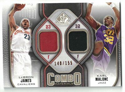 LEBRON JAMES 2009-10 SP Game Used Combo Materials Dual Jersey 155 KARL MALONE