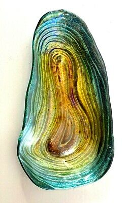 Art Glass Free Form TrayBowl in Iridescent Colors Sparkling with a Silver Back