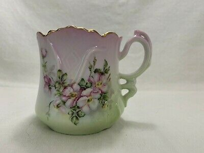 Vntg Nippon Hand Painted Porcelain Tea Cup with Tea Bag Strainer Green Pink EUC