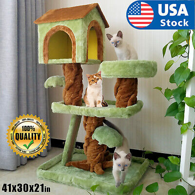 Cat tree Tower Great For Multiple Cats Scratcher Play House Condo Pet House 41