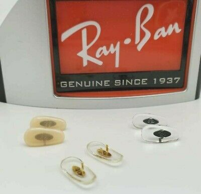 Ray Ban Pair Replacement Nose Pads Crimp On GoldGun Clear Flesh 12 14 or 16mm