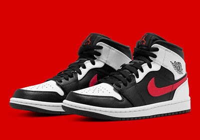 Nike Air Jordan 1 Mid Shoes Black White Chile Red 554724-075 Mens or GS NEW