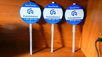 3  NEW  AUTHENTIC PROTECTAMERICA SECURITY YARD SIGN WITH ALUMINUM POST