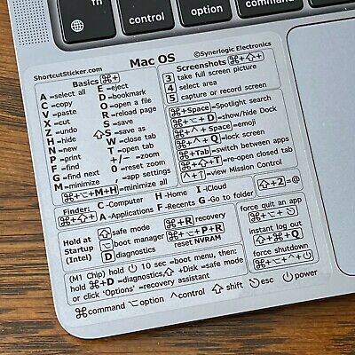 Synerlogic Mac OS CLEAR VINYL Reference Guide Shortcut sticker for M1 or Intel