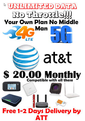 Unlimited 4G LTE Data Plan by AT-T - 20 Per Month HOTSPOT - Your Own Account